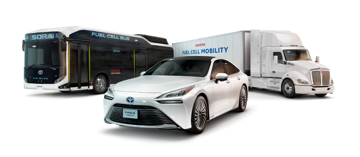 The all-new Mirai, Sora Fuel Cell Electrified Bus, and FC Semi Truck stand on display in front of a city backdrop.