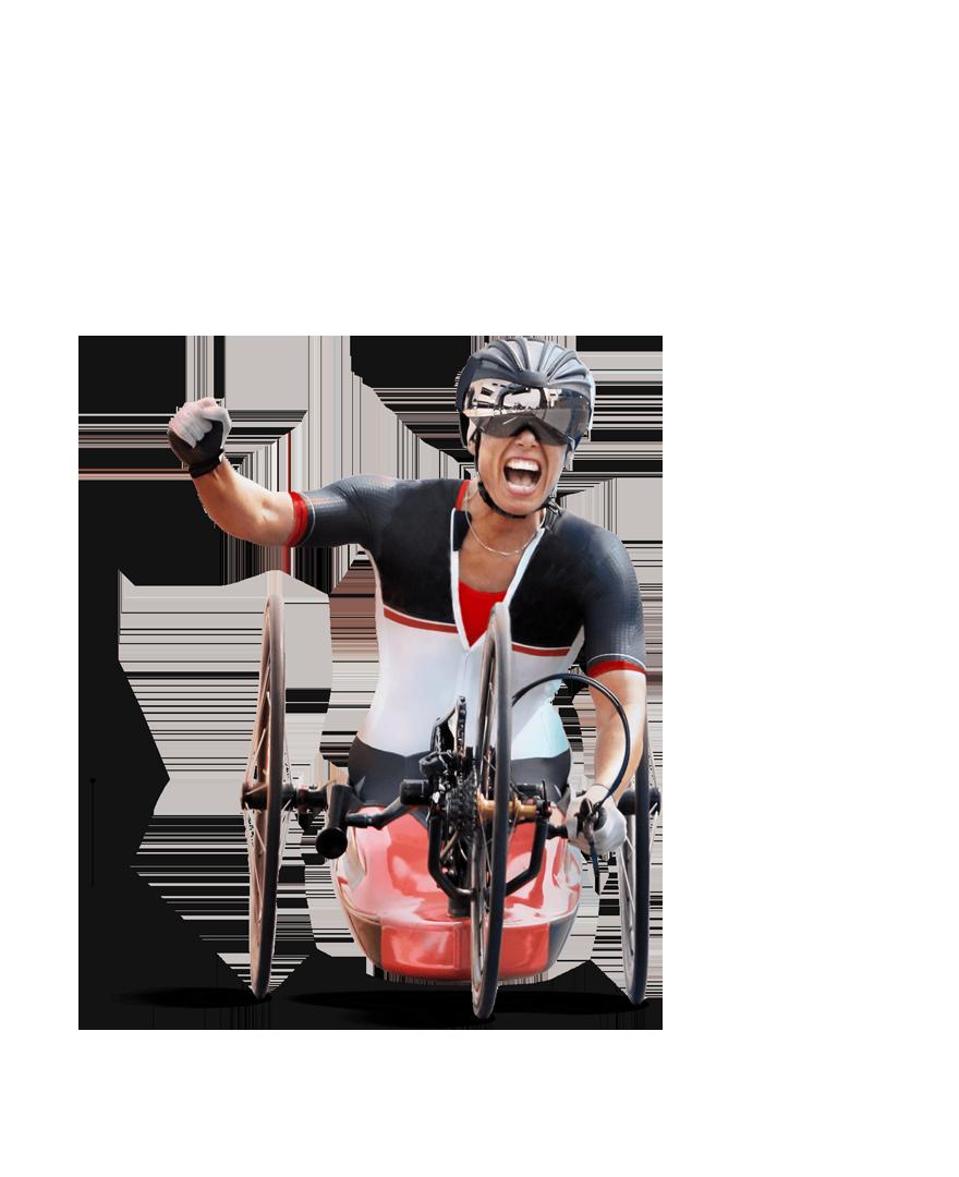 Multi-medalist and Paralympic athlete Andrea Eskau on her custom-built handcycle.