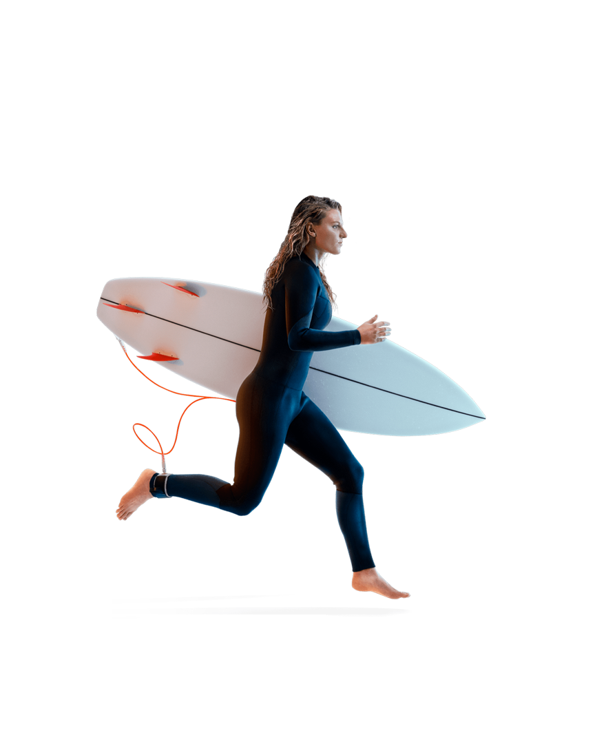 Lakey runs in a wetsuit, surfboard under her arm.