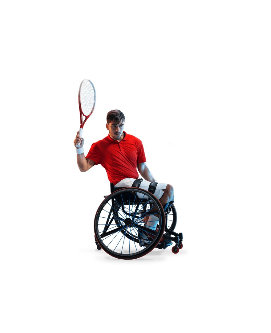 Martin de la Puente's red shirt stands out against a white background. His racket is raised behind him, ready to swing.